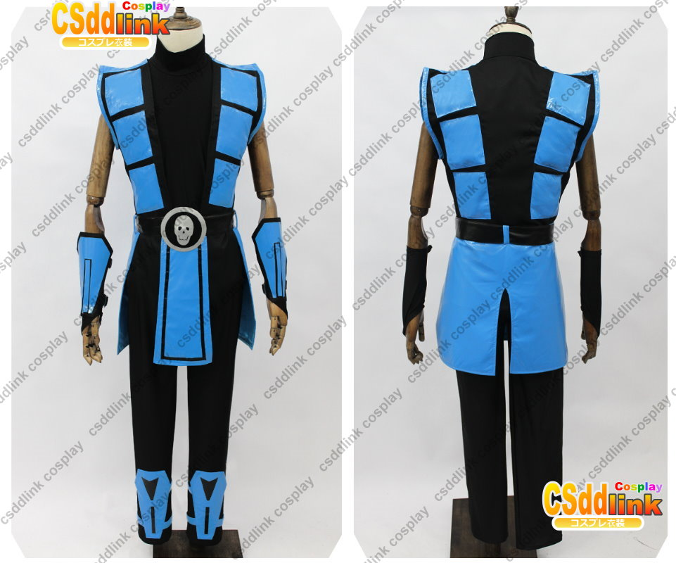 mortal kombat 3 scorpion cosplay costume color blue